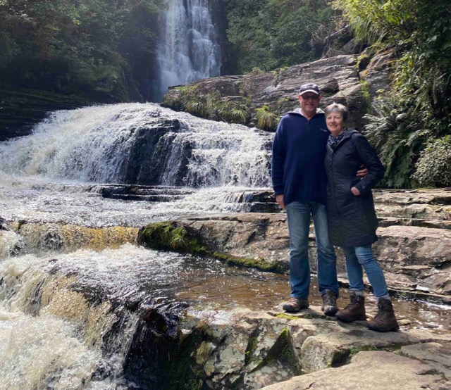 Ian and Vicki by the waterfall