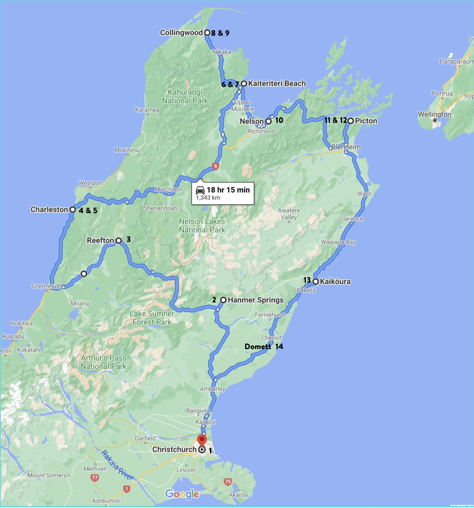 Map of tour route